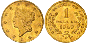 1849-O Gold Dollar
