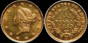 1853-D Gold Dollar
