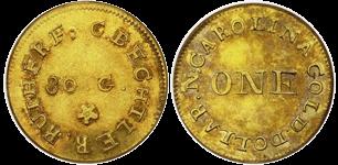 C. BECHTLER $1, 30 grains