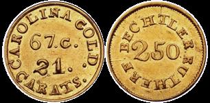 C. BECHTLER $2.50, 67 grains, 21 carats